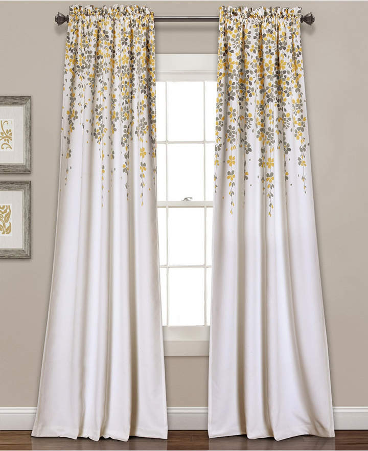 "Weeping Flower Room Darkening Window Curtain Panels Set, 95"" X 52"" Throughout Dolores Room Darkening Floral Curtain Panel Pairs (Image 22 of 25)"