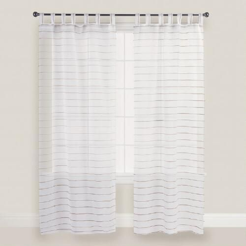 White Striped Jute Sahaj Tab Top Curtains Set Of 2 – Cotton Pertaining To Jacob Tab Top Single Curtain Panels (Image 23 of 25)