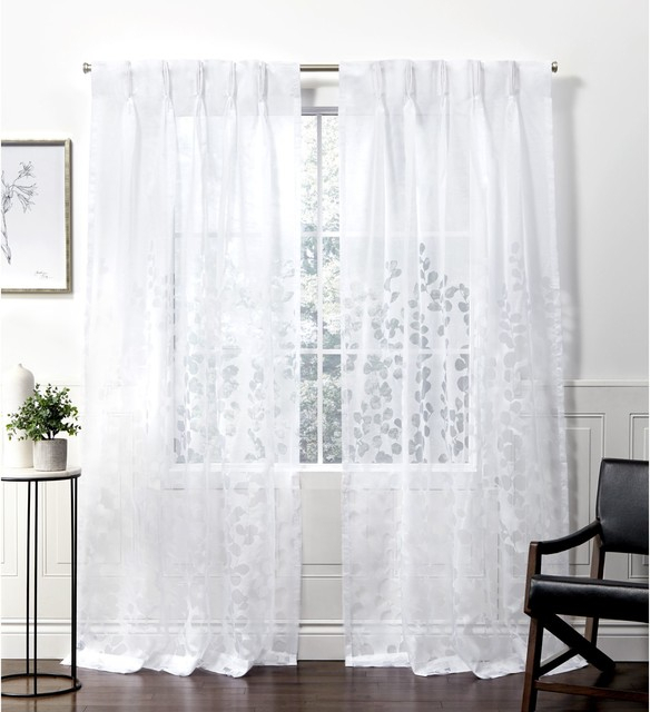 Wilshire Burnout Sheer Pinch Pleat Curtain Panel Pair, Winter White, 27X108 Inside Double Pinch Pleat Top Curtain Panel Pairs (Image 25 of 25)