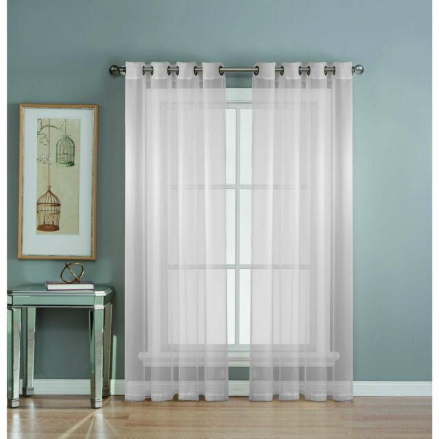 Window Elements Diamond Sheer Voile Extra Wide Grommet Curtain Panel, 56 X 90 In Inside Wavy Leaves Embroidered Sheer Extra Wide Grommet Curtain Panels (View 3 of 25)