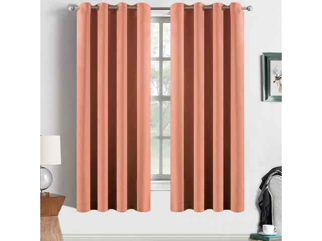 Yakamok Coral Orange Room Darkening Blackout Curtains Thermal Insulated Drapes Solid Grommet Top Window Curtain Panels For Girls' Bedroom, 2 Tie Backs Throughout Thermal Insulated Blackout Grommet Top Curtain Panel Pairs (View 24 of 25)