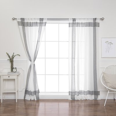 Zipcode Design Eligah Cross Striped Semi Sheer Tab Top With Jacob Tab Top Single Curtain Panels (Image 25 of 25)