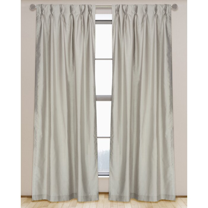 Zoi Semi Sheer Lined Faux Silk Pinch Pleat Tab Top Panel Set (Set Of 2) For Davis Patio Grommet Top Single Curtain Panels (Image 25 of 25)