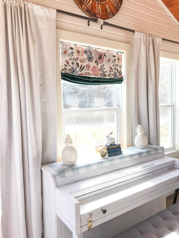 1 Pair Of Curtains, Ticking Striped, Curtains, Classic Stripe, Kitchen  Curtains, Window Treatments, Kitchen Decor, Striped Curtain With Regard To Farmhouse Stripe Kitchen Tier Pairs (Image 2 of 25)