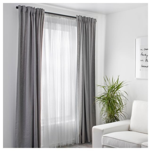1 Pair Of Ikea Lill White Long Net Curtains Window Lace Sheer Blinds 250X280Cm Inside Sheer Lace Elongated Kitchen Curtain Tier Pairs (View 15 of 25)