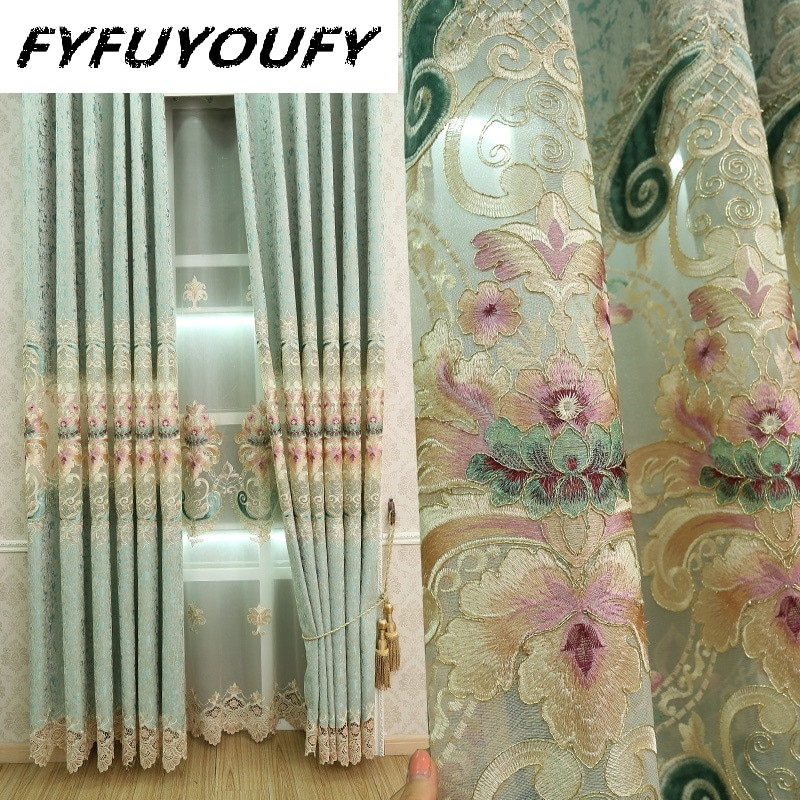 100% Polyester Europe Luxury Curtains For Livingroom/ Bedroom For Flat/french Window With Floral Pattern Custom Curtains Within Floral Pattern Window Valances (View 14 of 25)