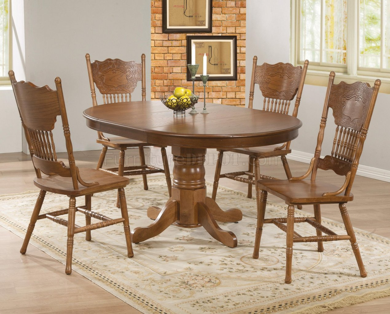104261 Brooks 5Pc Dining Setcoaster In Oak W/options Intended For Most Recently Released Brooks Dining Tables (View 23 of 25)