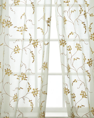 108 Inch Drape | Neiman Marcus Pertaining To Ivory Micro Striped Semi Sheer Window Curtain Pieces (View 15 of 25)