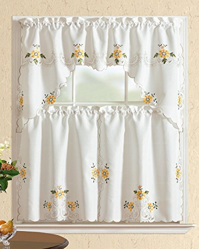 15 Top Embroidered Kitchen Curtains – Top Decor Tips Inside Chocolate 5 Piece Curtain Tier And Swag Sets (View 24 of 25)