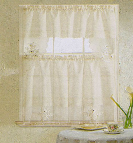 15 Top Embroidered Kitchen Curtains – Top Decor Tips With Floral Embroidered Sheer Kitchen Curtain Tiers, Swags And Valances (View 25 of 25)