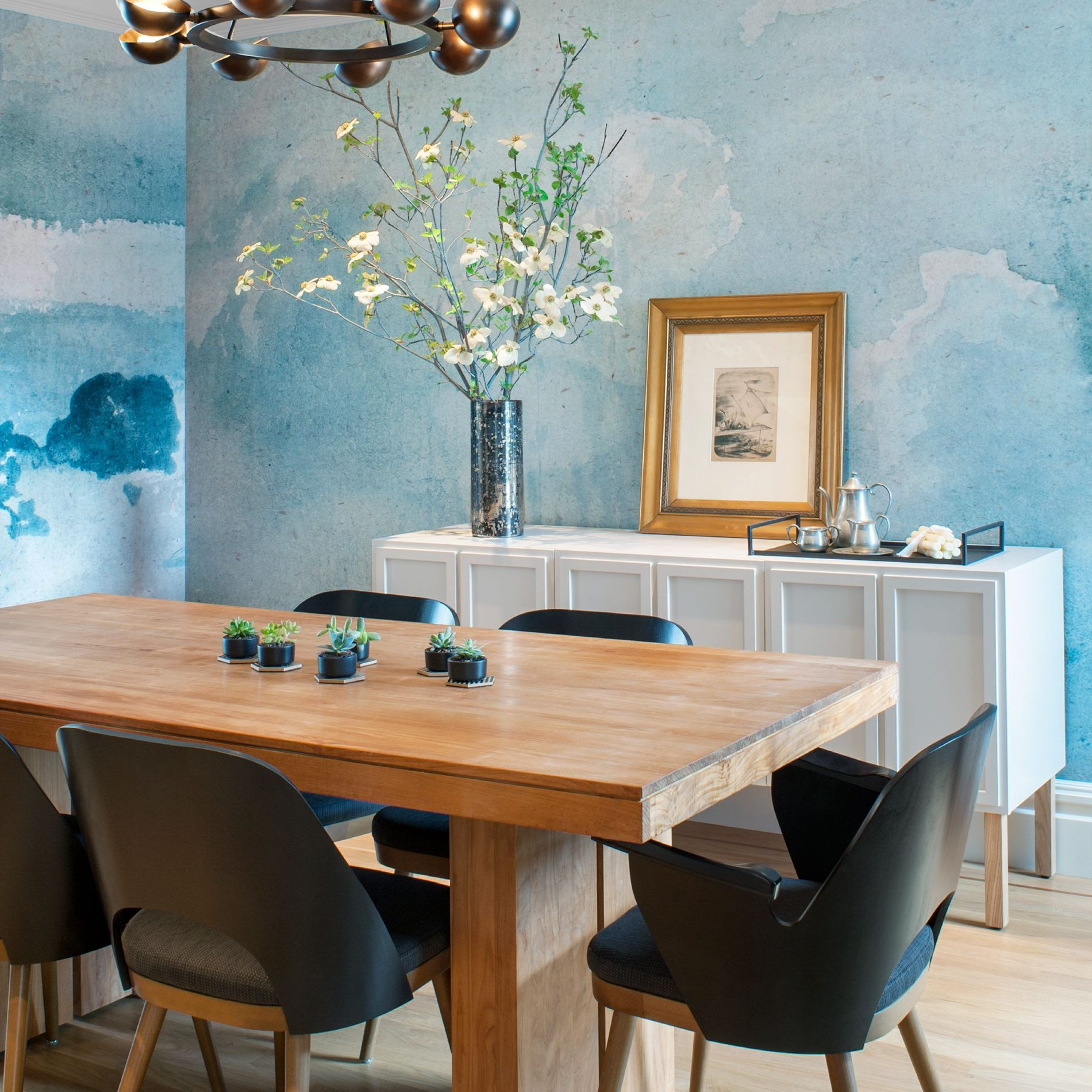 18 Dining Room Wallpaper Ideas That'll Elevate All Your With Recent Hearst Oak Wood Dining Tables (Image 1 of 25)