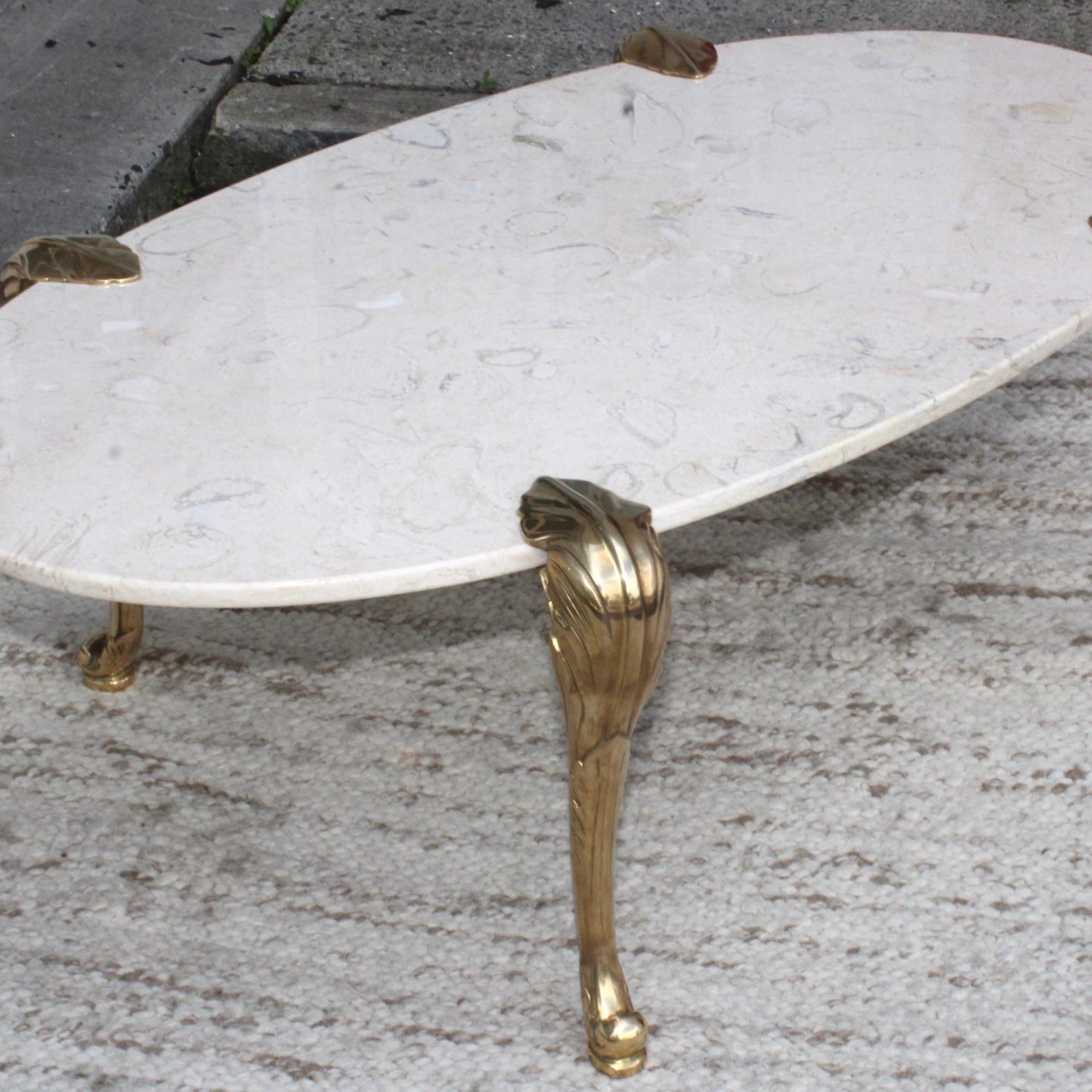 1970S Marble And Brass Coffee Table Attributed To Chapman Intended For Best And Newest Chapman Marble Oval Dining Tables (View 18 of 25)