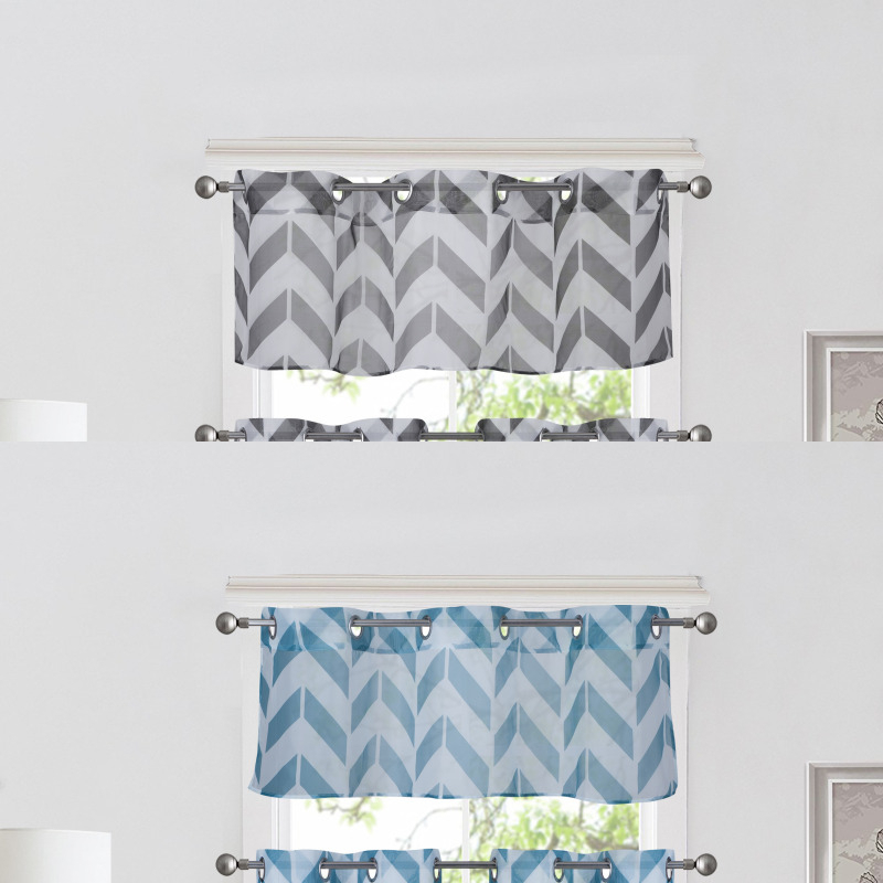 1Pc Chevron Straight Valance Topper Voile Sheer Window With Regard To Luxury Light Filtering Straight Curtain Valances (Image 1 of 25)