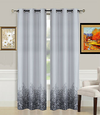 1Pc Light Blocking Window Curtain Grommet Top Lined Panel Inside Tree Branch Valance And Tiers Sets (View 19 of 25)