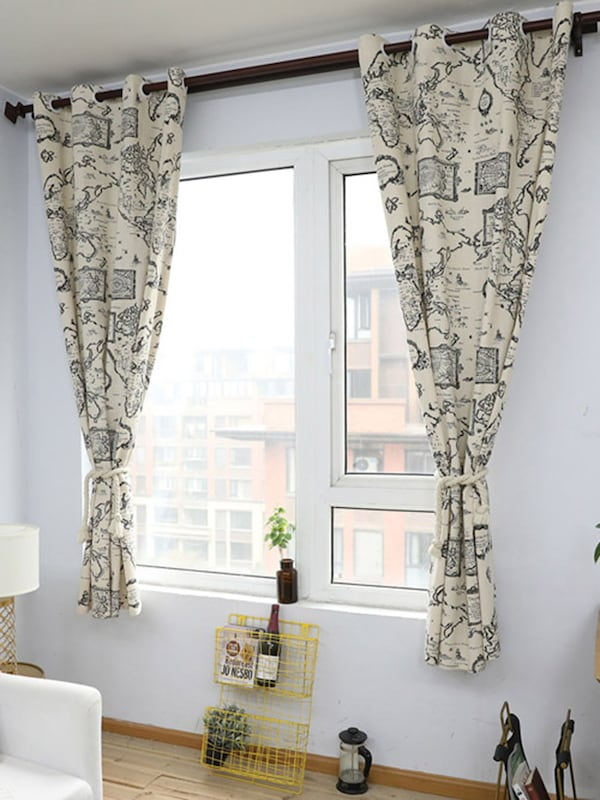 1Pc Living Room Decorative Vintage World Map Cotton Linen Window Curtain Kids Bedroom Retro Curtain Intended For Cotton Blend Classic Checkered Decorative Window Curtains (View 13 of 25)
