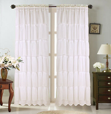 1Pc Voile Sheer Crushed Ruffle Window Dressing Curtain Panel In Ivory Micro Striped Semi Sheer Window Curtain Pieces (View 9 of 25)