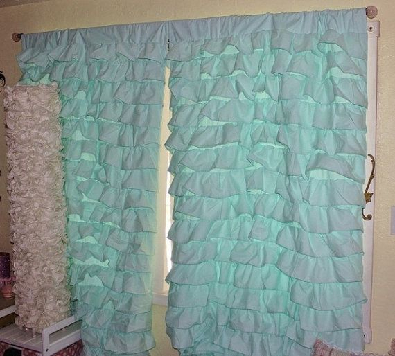 2 Aqua Blue Turquoise Teal Waterfall Ruffled Curtains With Navy Vertical Ruffled Waterfall Valance And Curtain Tiers (View 12 of 25)