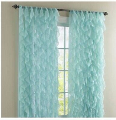 2 Panel Window Sheer Vertical Ruffled Waterfall Curtains With Regard To Chic Sheer Voile Vertical Ruffled Window Curtain Tiers (View 12 of 25)