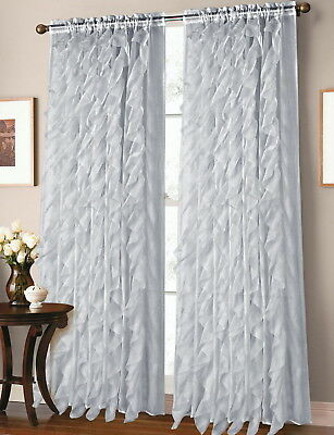 2 Panel Window Sheer Vertical Ruffled Waterfall Curtains Within Chic Sheer Voile Vertical Ruffled Window Curtain Tiers (View 8 of 25)