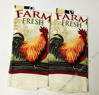 2 Piece Set Printed Kitchen Dish Towels Farm Fresh Rooster Intended For Traditional Two Piece Tailored Tier And Swag Window Curtains Sets With Ornate Rooster Print (View 24 of 25)