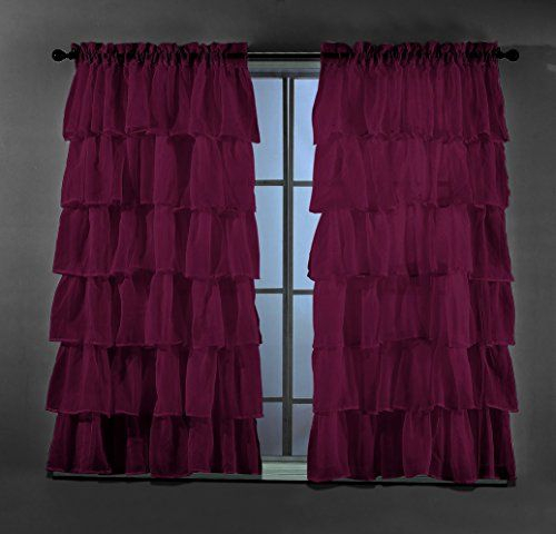 2 Piece Set Solid Burgundy Plum Gypsy Ruffle Sheer Crushed In Elegant Crushed Voile Ruffle Window Curtain Pieces (View 13 of 25)