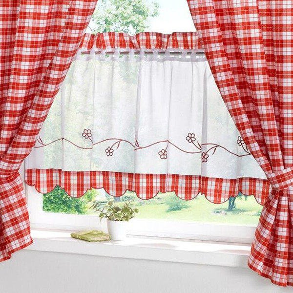 2019 30*90Cm Red Plaid Window Curtains For Bedroom Kitchen Cute Curtain Living Room Home Decoration Children Boys Girl House From Stunning88, $ (View 25 of 25)