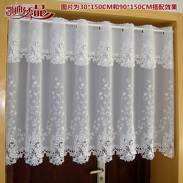 2019 Countryside Half Curtain Luxurious Embroidered Window Valance Lace Hem Coffee Curtain For Kitchen Cabinet Door A 114 From Waxer, $ (View 24 of 25)