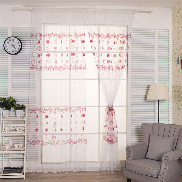 2019 Curtains For Living Room Circle Printed Door Window Tulle Curtain Drape Panel Sheer Scarf Valances Cortinas Dormitorio B15 From Huojuhua, $ (View 15 of 25)