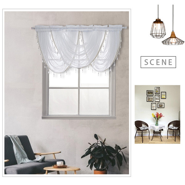 2019 Curtains Polyester Home Waterfall Living Room Window Valance Kitchen  Modern Luxury Soft Beaded Decoration Silver Silk Line From Georgely, $ (Image 1 of 25)