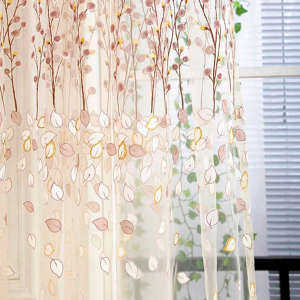 2019 Floral Tulle Door Window Curtain Drape Panel Sheer Scarf Valances Kitchen Curtains Living Room Window Tulle Curtain From Natal, $ (View 11 of 25)