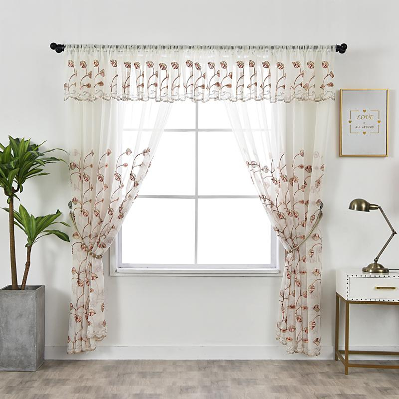 2019 Tulle Kitchen Curtains Rustic Decorations For Home Red Leaves Valance Window Curtain Living Room Embroidered Pastoral Voile From Herbertw, $ (View 13 of 25)