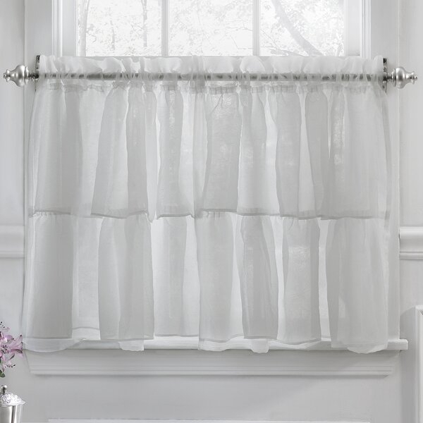 24 Inch Cafe Curtains | Wayfair Regarding Silver Vertical Ruffled Waterfall Valance And Curtain Tiers (View 19 of 25)