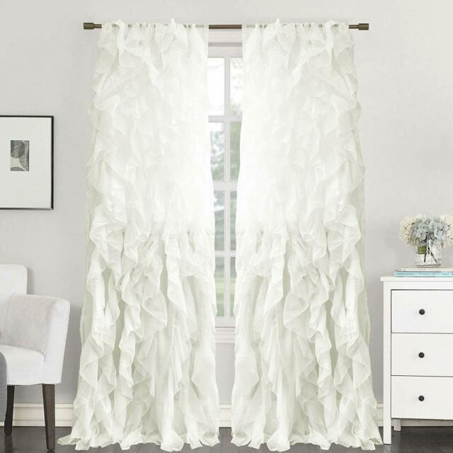 2Pc Cascade Shabby Chic Sheer Ruffled Curtain Panel For Silver Vertical Ruffled Waterfall Valance And Curtain Tiers (View 25 of 25)