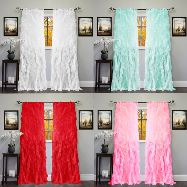 2Pc Cascade Shabby Chic Sheer Ruffled Curtain Panel Inside Silver Vertical Ruffled Waterfall Valance And Curtain Tiers (Image 4 of 25)