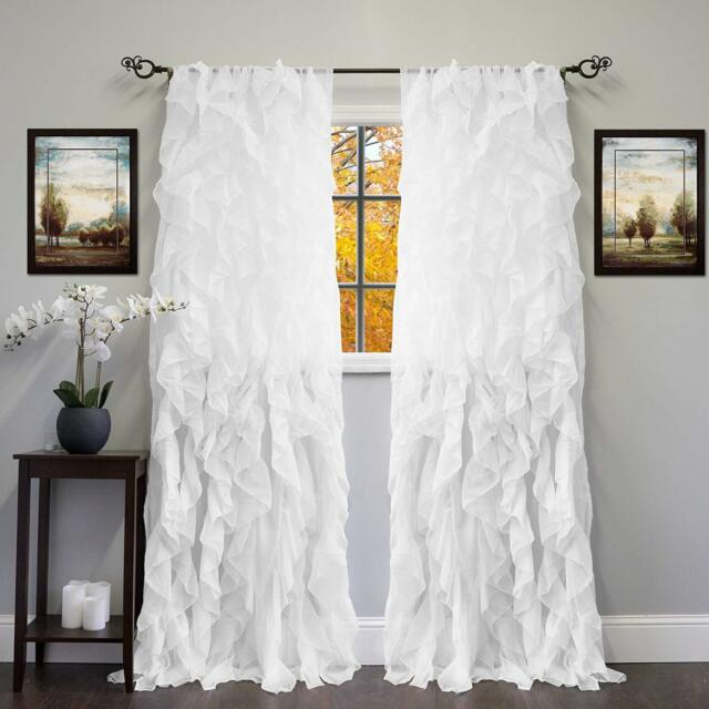 2Pc Cascade Shabby Chic Sheer Ruffled Curtain Panel With Regard To Silver Vertical Ruffled Waterfall Valance And Curtain Tiers (View 1 of 25)