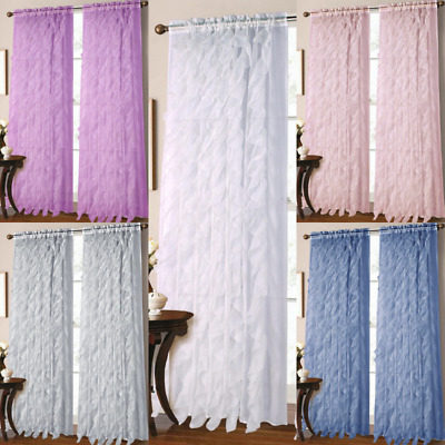 2Pc Vertical Ruffles Voile Sheer Window Waterfall Curtain Intended For Vertical Ruffled Waterfall Valances And Curtain Tiers (Image 1 of 25)