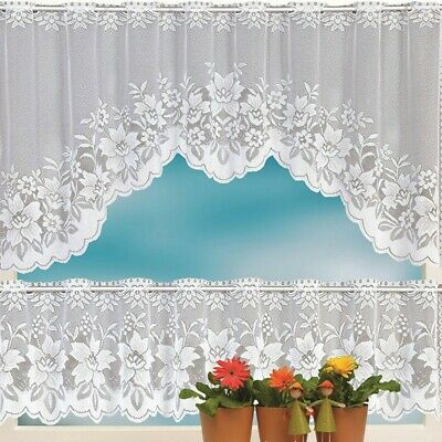 2Pcs Floral Lace Semi Sheer Kitchen Curtain Choice Tier Valance Swag White | Ebay With Regard To Floral Embroidered Sheer Kitchen Curtain Tiers, Swags And Valances (View 7 of 25)
