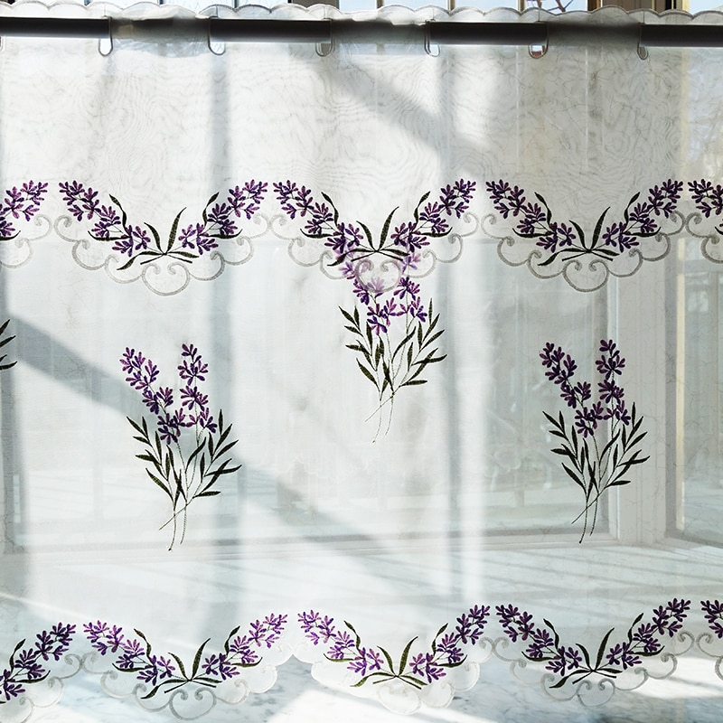 2Pcs/set Pastoral Embroidered Lavender Window Door Curtain Tiers Kitchen Curtain 1 Tiers 1 Valance M562 Inside Kitchen Curtain Tiers (View 8 of 25)