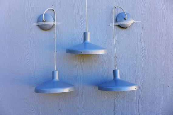 3 Gray Industrial Hanging Lights Aluminum Flared Shade Mid Century Modern Pendant Light Vintage Heyco Ceiling Lamp With Cover Long Cord Pertaining To Porch & Den Lorentz Silver 24 Inch Tier Pairs (View 22 of 25)