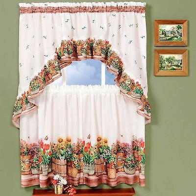 "3 Pc Flowered Kitchen Curtain Tier And Valance Set 36"" Long For Window Curtain Tier And Valance Sets (Image 1 of 25)"