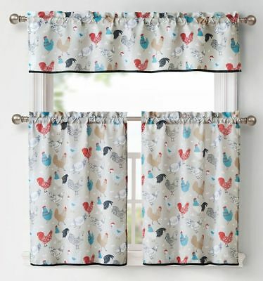 "3 Pc Kitchen Curtains Set: 2 Tiers (28""x36"") & Valance (56 With Regard To Twill 3 Piece Kitchen Curtain Tier Sets (Photo 11 of 25)"