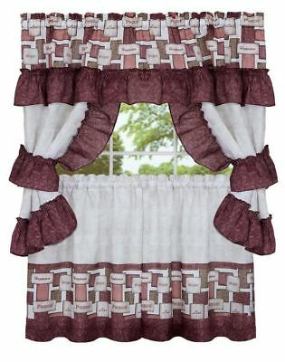 3 Pc Kitchen Printed Curtains Set, (58X14) & (58X36 Within Top Of The Morning Printed Tailored Cottage Curtain Tier Sets (View 19 of 25)