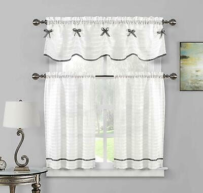 3 Pc Off White Window Curtain Set Sheer Pleated Stripe Silver Ribbon 2  Tiers 36L | Ebay Regarding Spring Daisy Tiered Curtain 3 Piece Sets (Photo 7 of 25)