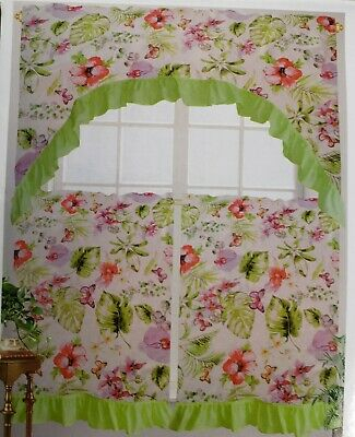 3 Pc Printed Curtains Set: 2 Tiers & Swag, Bunch Of Leaves For Multicolored Printed Curtain Tier And Swag Sets (Photo 18 of 25)