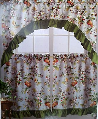3 Pc Printed Curtains Set: 2 Tiers & Swag, Bunch Of Leaves With Multicolored Printed Curtain Tier And Swag Sets (Photo 11 of 25)