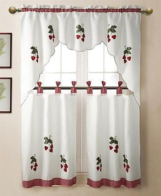 3 Pc Strawberry Kitchen Window Embroidered Curtain Set W Pertaining To Embroidered Ladybugs Window Curtain Pieces (Photo 23 of 25)