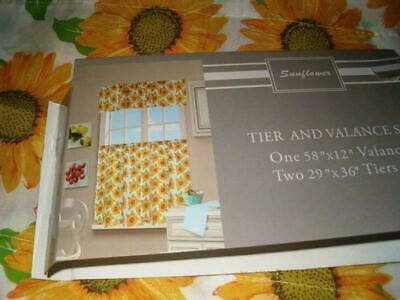 3 Pc Sunflower Kitchen Curtains Tier & Valance Set | Ebay Intended For Sunflower Cottage Kitchen Curtain Tier And Valance Sets (Photo 16 of 25)