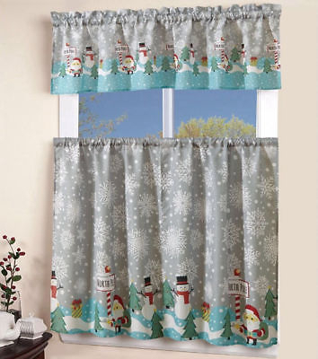 3 Pcs Christmas Kitchen Curtain With Swag And Tier Window Curtain Set  Holiday | Ebay Throughout Red Delicious Apple 3 Piece Curtain Tiers (Photo 2 of 25)