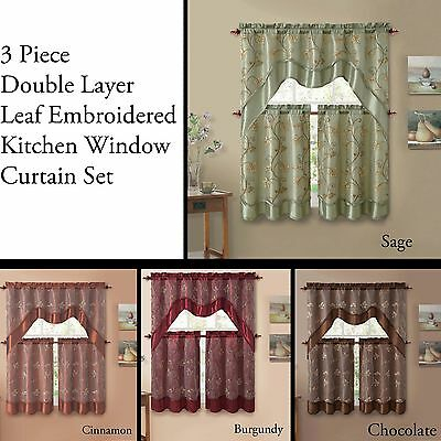 3 Piece Double Layer Leaf Embroidered Kitchen Window Curtain Set With  Valance | Ebay Throughout Faux Silk 3 Piece Kitchen Curtain Sets (Photo 19 of 25)