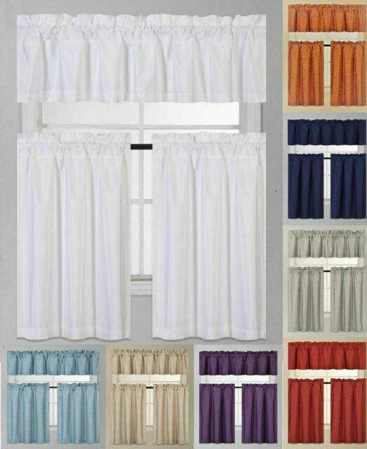 3 Piece Faux Silk Blackout Kitchen Window Curtain Set 2 Tiers & 1 Valance In Faux Silk 3 Piece Kitchen Curtain Sets (Photo 14 of 25)
